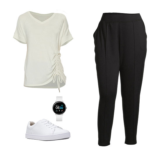 PLUS STYLUS IVORY SIDE TEE/JOGGER: Stylus Plus Side-Shirred Top, Pintuck Joggers & Clarks Shoes