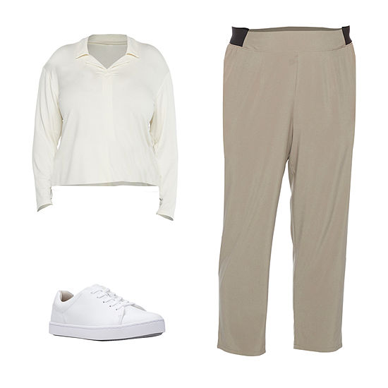 STYLUS PLUS GRAY PANT/IVORY KNIT: Stylus Plus Johnny Collar Top, Woven Ankle Pants & Clarks Shoes