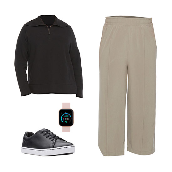 PLUS STYLUS BLACK PULLOVER/CROP PANT: Stylus Plus Half-Zip Pullover, Wide-Leg Crop Pants & Sneakers