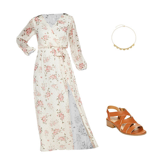 CREAM BLUSH MAXI: Cream Floral Maxi & Heeled Sandals