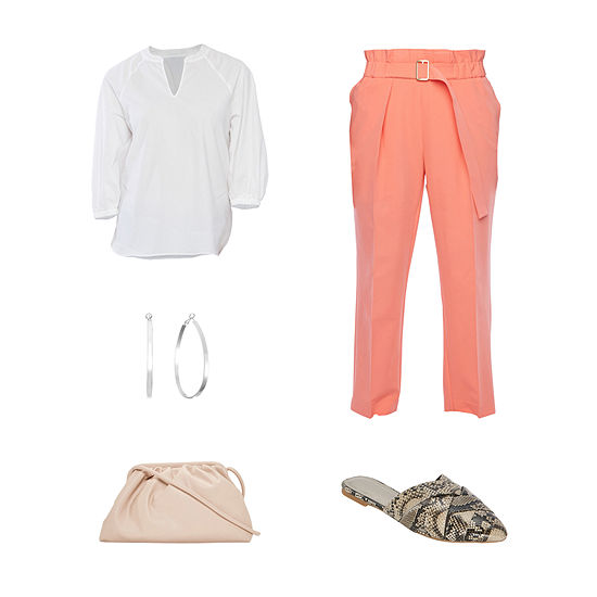 WT WHITE POPOVER/PEACH: Worthington Raglan Popover Blouse, Belted Pull-on Pant & Mules
