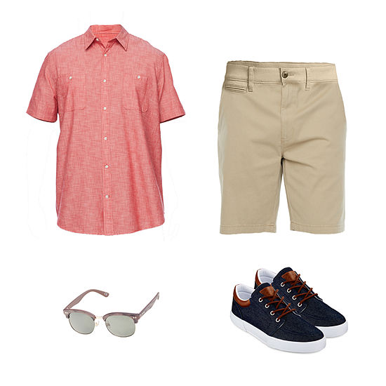 The Foundry Big & Tall Supply Co. Short Sleeve Shirt, Chino Shorts and Levi's Oxford Shoes