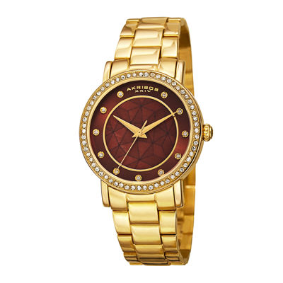 Akribos XXIV Womens Gold-Tone Crystal Accent Bracelet Watch