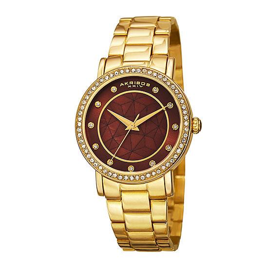 Akribos XXIV Womens Gold-Tone Crystal Accent Bracelet Watch