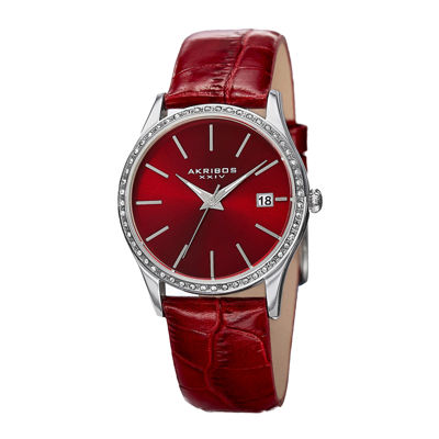 Akribos XXIV Lux Womens Red Dial Crystal Accent Leather Strap Watch