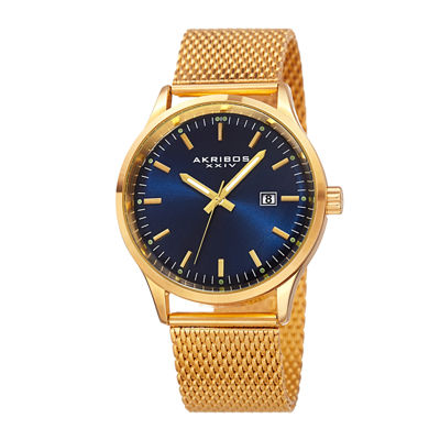 Akribos XXIV Omni Mens Gold-Tone Bracelet Watch