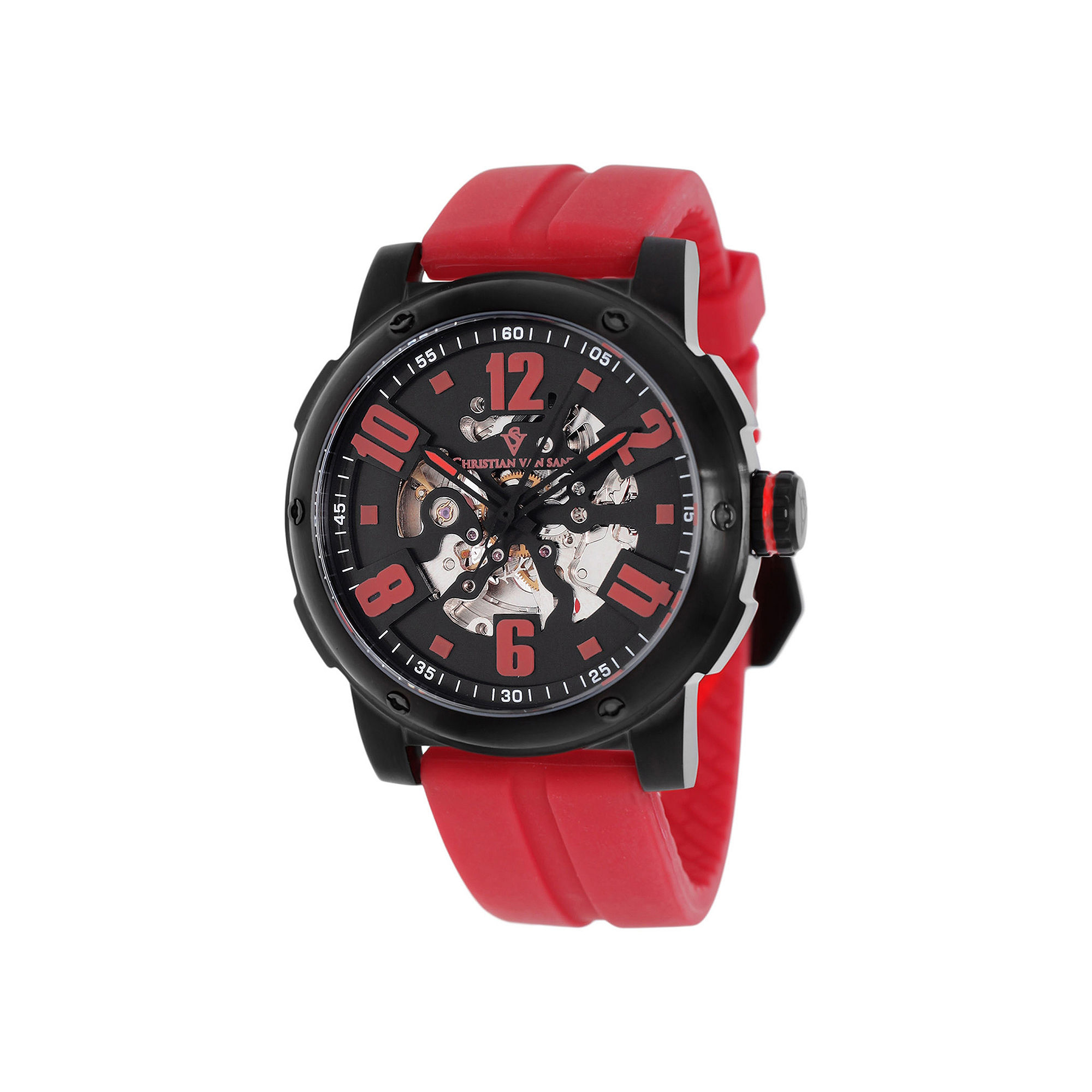 Christian Van Sant Skeleton Mens Black Dial Red Rubber Strap Watch