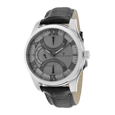Christian Van Sant Oak Mens Gray Leather Strap Watch