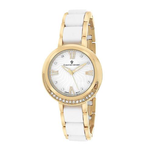 Christian Van Sant Eternelle Womens White Dial Gold-Tone Bracelet Watch