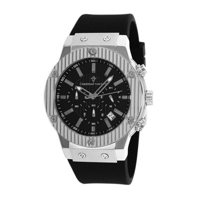 Christian Van Sant Monarchy Mens Black Rubber Strap Watch