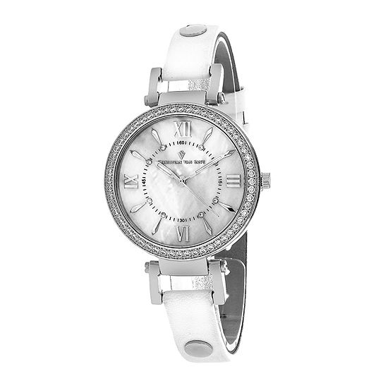 Christian Van Sant Petite Womens White Leather Strap Watch