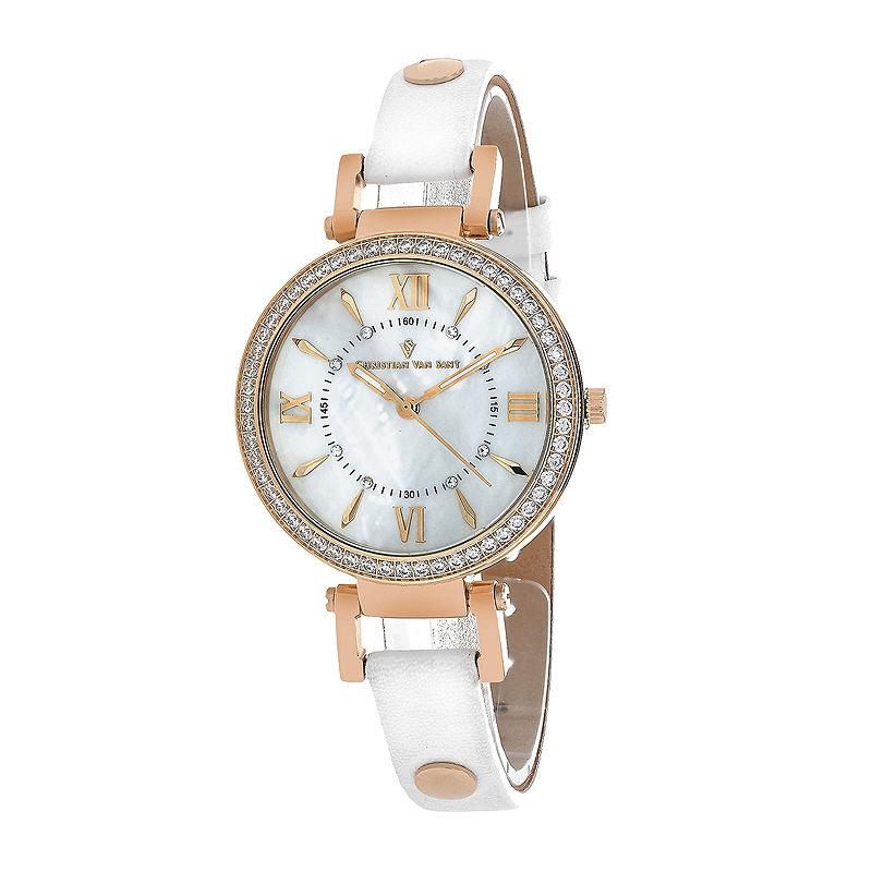 Christian Van Sant Petite Womens White Leather Strap Watch