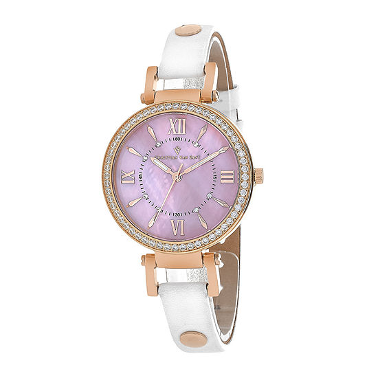 Christian Van Sant Petite Womens Pink Dial White Leather Strap Watch