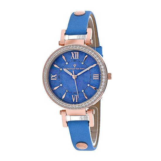 Christian Van Sant Petite Womens Blue Leather Strap Watch