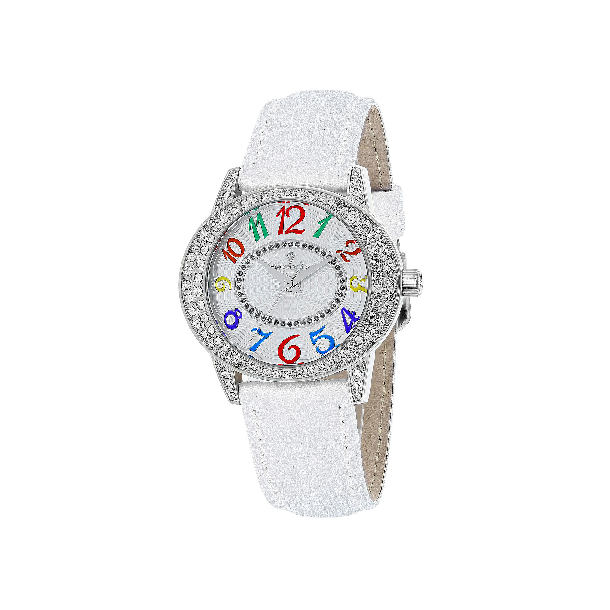 Christian Van Sant Sevilla Womens White Leather Strap Watch