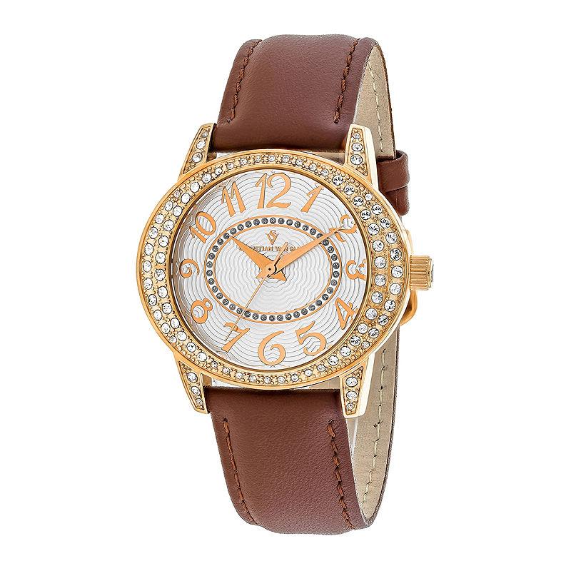 Christian Van Sant Sevilla Womens Brown Leather Strap Watch