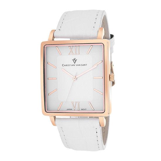 Christian Van Sant Monte Cristo Mens White Leather Strap Watch