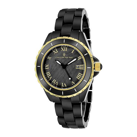 Christian Van Sant Ladies Black and Gold Tone Palace Bracelet Watch