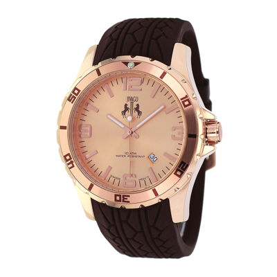 Jivago Ultimate Mens Rose-Tone Dial Brown Silicone Strap Watch