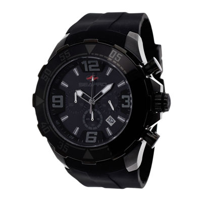 Seapro Diver Mens Black Dial Black Silicone Strap Watch