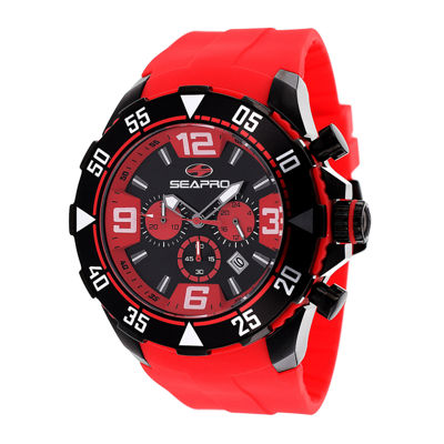 Seapro Diver Mens Black Dial Red Silicone Strap Watch