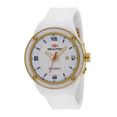 Seapro Driver Mens White Dial White Silicone Strap Watch