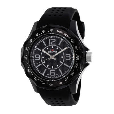 Seapro Dynamite Mens Black Dial Black Silicone Strap Watch