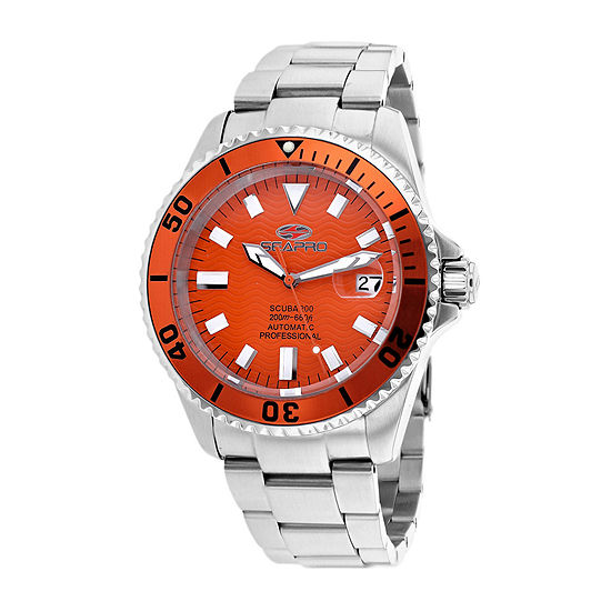 Seapro Scuba 200 Mens Orange and Silver-Tone Stainless Steel Watch