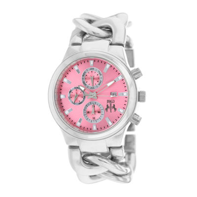 Jivago Lev Womens Pink Dial Stainless Steel Bracelet Watch