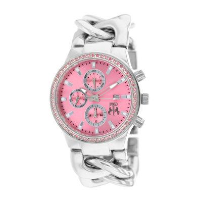 Jivago Lev Womens Pink Dial Stainless Steel Bracelet Watch