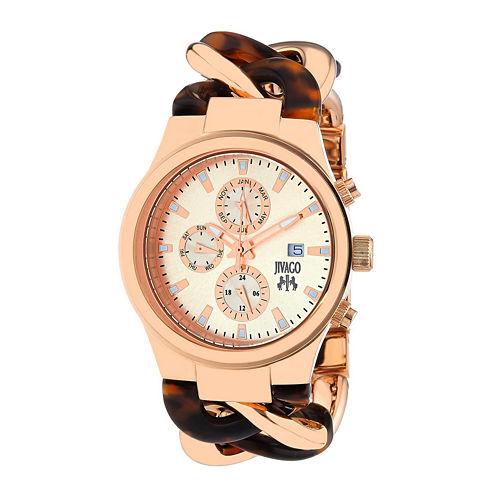 Jivago Lev Womens Rose-Tone Dial Brown Stainless Steel Bracelet Watch