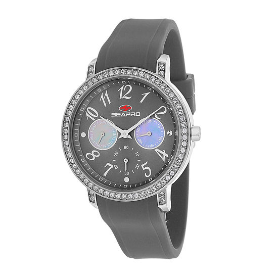 Seapro Womens Swell Grey Silicone Strap Watch