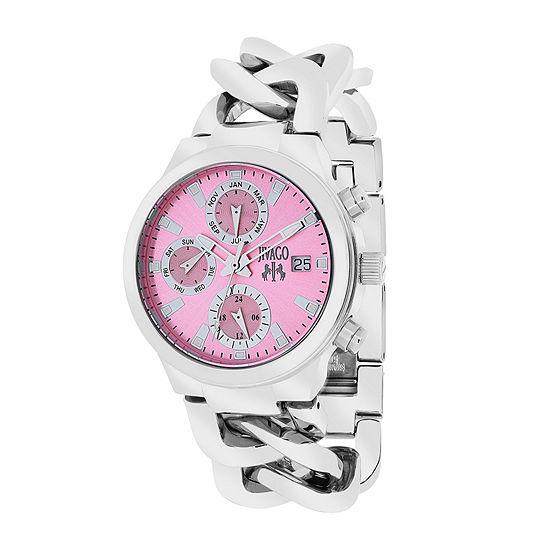 Jivago Womens Levley Pink Dial Stainless Steel Bracelet Watch