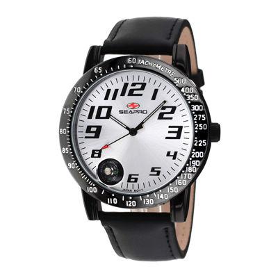 Seapro Mens Raceway Silver Dial Black Leather Strap Watch