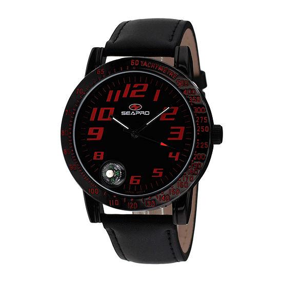 Seapro Mens Raceway Black Leather Strap Watch