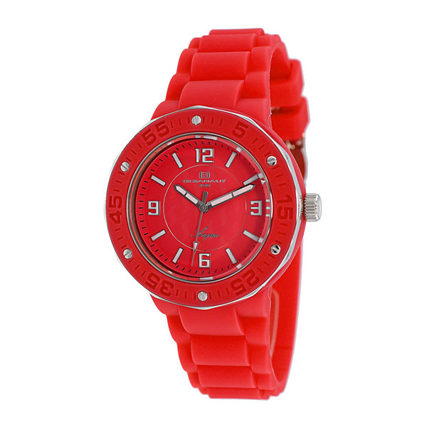 Oceanaut Womens Acqua Red Silicone Strap Watch