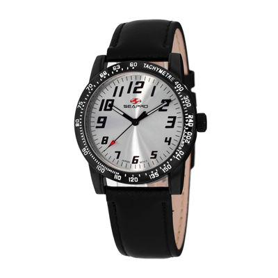 Seapro Bold Womens Black Leather Strap Watch