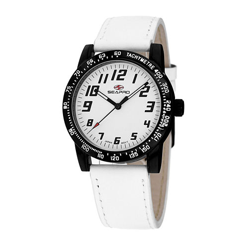 Seapro Bold Womens White Leather Strap Watch