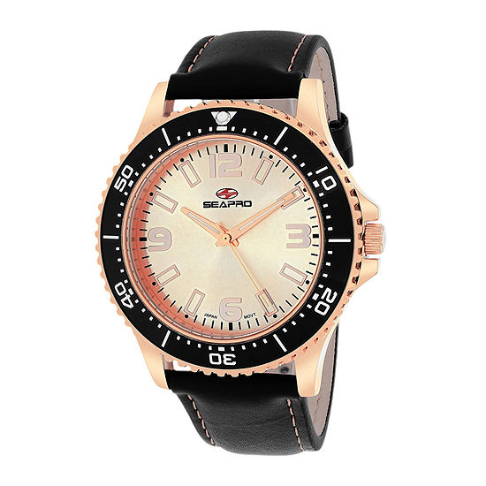 Seapro Tideway Mens Rose-Tone Dial Black Leather Strap Watch