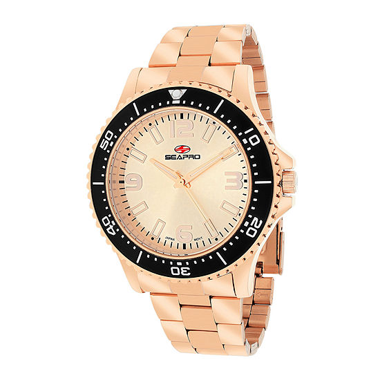 Seapro Tideway Mens Rose-Tone Dial Rose-Tone Stainless Steel Bracelet Watch