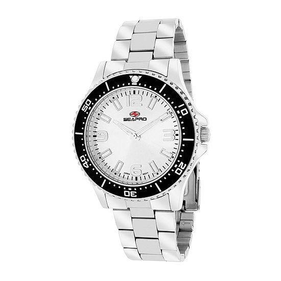 Seapro Mens Silver Tone White Tideway Bracelet Watch