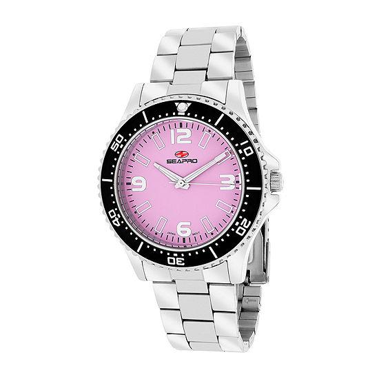 Seapro Tideway Womens Pink Dial Stainless Steel Bracelet Watch