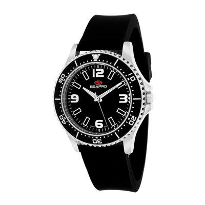 Seapro Tideway Womens Black Dial Black Silicone Strap Watch