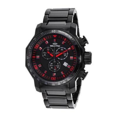 Seapro Coral Mens Black Ceramic Bracelet Watch