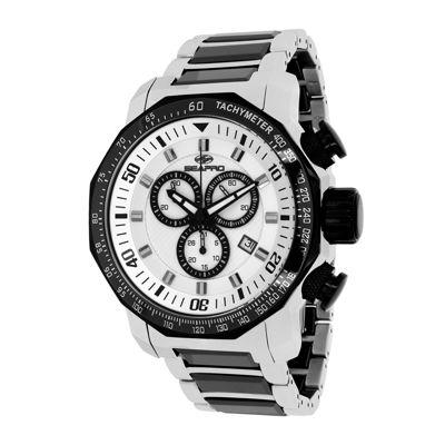 Seapro Coral Mens Silver-Tone Ceramic Bracelet Watch