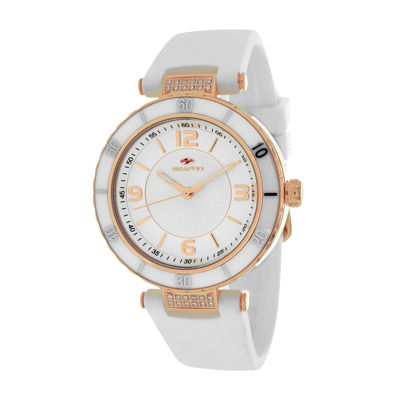 Seapro Seductive Ladies Silver Dial White Ceramic Strap Watch
