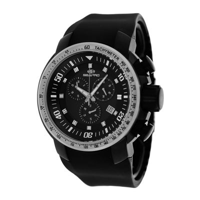 Seapro Imperial Mens Black Silicone Strap Watch