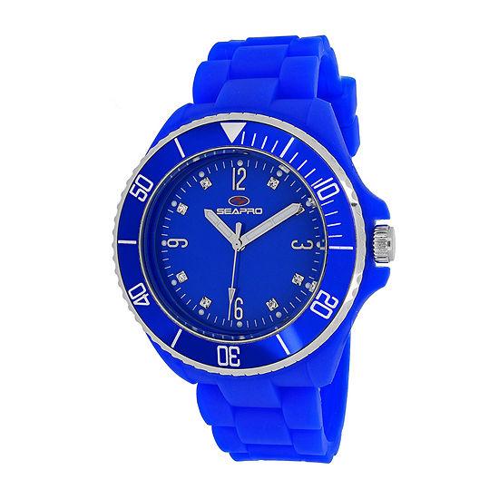 Seapro Sea Bubble Womens Blue Silicone Strap Watch