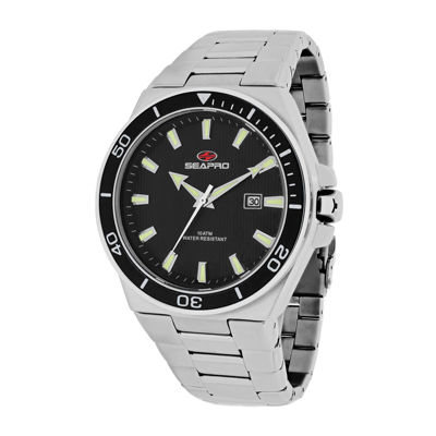 Seapro Storm Mens Black Dial Stainless Steel Bracelet Watch