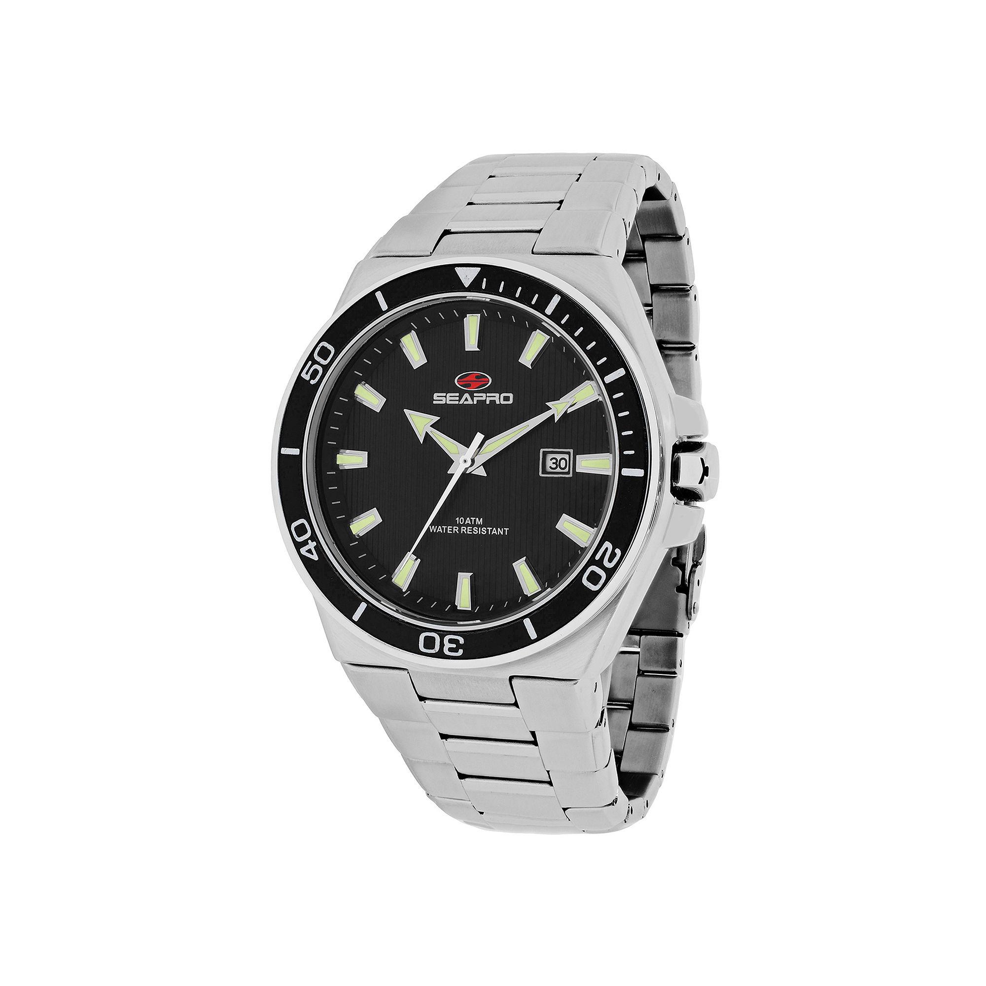Seapro Storm Mens Black Dial Stainless Steel Bracelet Watch